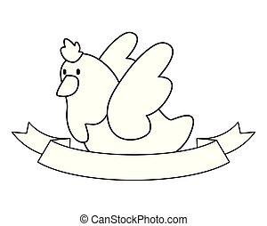 dove ribbon on white background