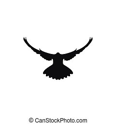 dove silhouette on white background, vector