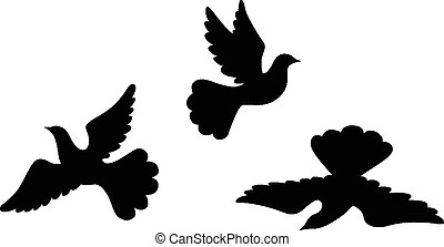 Dove silhouettes set