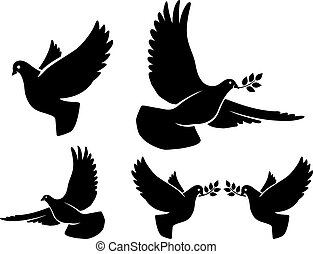 Dove silhouettes. Vector flying dove with olive branch black...