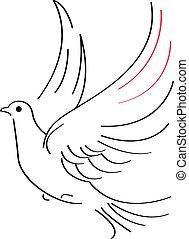 Dove sketch - Vector illustration of flying dove on white...