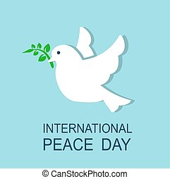 dove symbol of peace - dove flying and holding in its beak a...