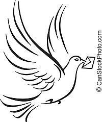 dove symbol on white