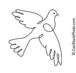 dove., sztuka, illustration., drawing., ciągły, wektor, pigeon., logo, kreska