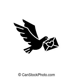 Dove with a letter black icon, vector sign on isolated background. Dove with a letter concept symbol, illustration