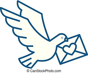 Dove with a letter line icon concept. Dove with a letter flat vector symbol, sign, outline illustration.