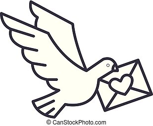 Dove with a letter line icon concept. Dove with a letter vector linear illustration, symbol, sign