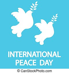 Dove with a tree branch for International Peace Day holiday