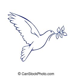 Dove with branch. Symbol of peace. Vector illustration