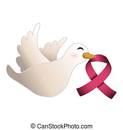 dove with cancer symbol in the beak