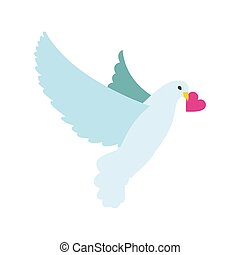 Dove with heart flat icon