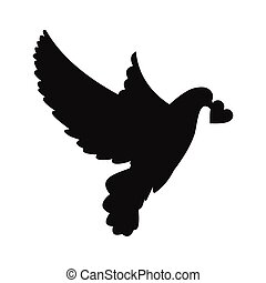 Dove with heart simple icon