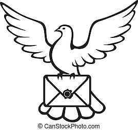 Contour image of a dove carrying an envelope in the paws