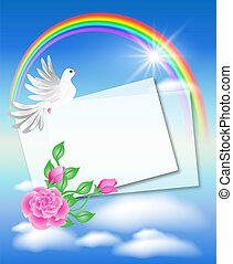 Dove with letter in the sky and rainbow