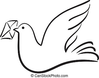 Dove with letter, vector illustration