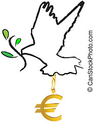 dove with olive branch euro crisis motive