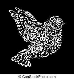 dove., zentangle, czarnoskóry, rocznik wina, rys, capstrzyk, stylizowany, biały