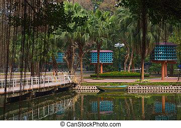 Beautiful city garden with dovecotes Hanoi Vietnam