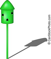 Dovecote in green design with shadow on white background