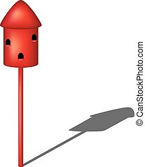 Dovecote in red design with shadow on white background