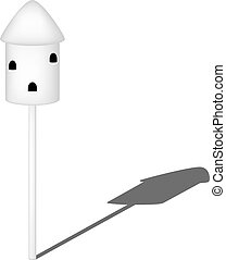 Dovecote in white design with shadow on white background