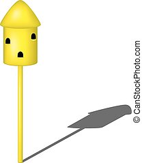 Dovecote in yellow design with shadow on white background
