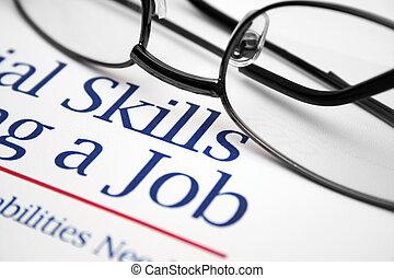 dovednosti, zaměstnání