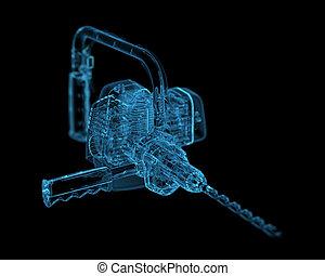 dovere pesante, (3d, transparent), blu, xray, trapano