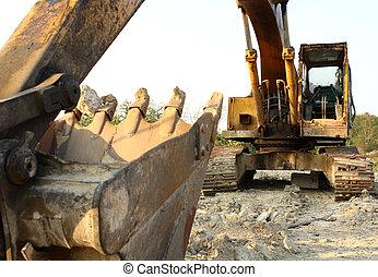 dovere pesante, worksite, apparecchiatura, costruzione, ...