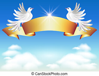 Doves and golden ribbon - Doves in the clouds and golden ...