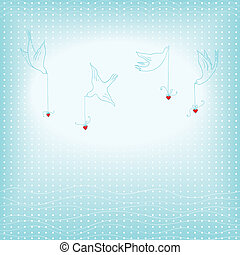 doves and hearts background