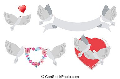 Doves and Hearts with Banners Vector Illustration