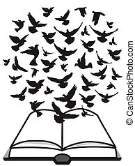 Isolated a group of dove flying above the bible from white background, Bible Holy Spirit