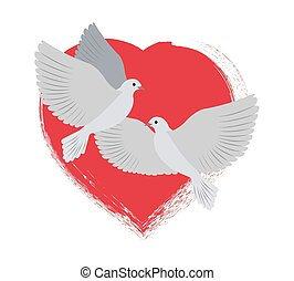 Doves Flying and Red Heart Vector Illustration