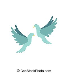 Doves icon, flat style