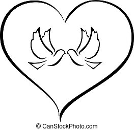doves in a heart