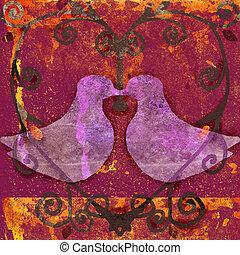 doves in heart - grunge illustration of doves framed by...