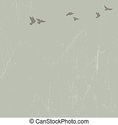 Doves in sky. Vector