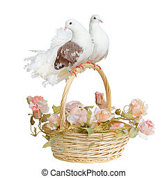 Doves on a basket handle
