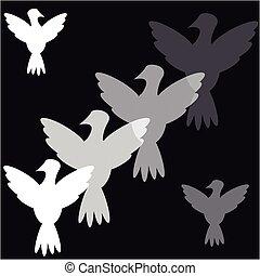 Doves on black background