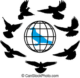 doves silhouette against the background of globe world vector