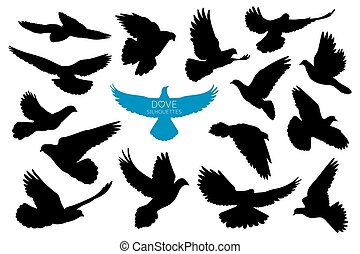 Doves silhouettes. Vector