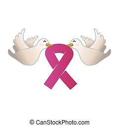 doves with cancer symbol in the beak