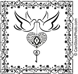 doves with flourishes and heart 2