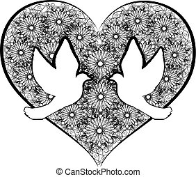 doves with flourishes heart