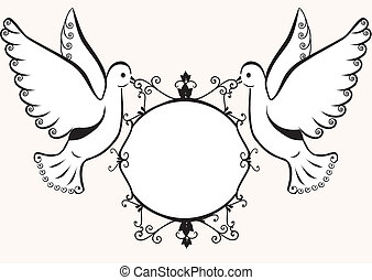 Doves with frame