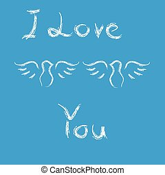 Doves with text i love you on blue background