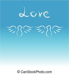 Doves with text love on blue background