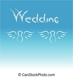 Doves with text wedding on blue background