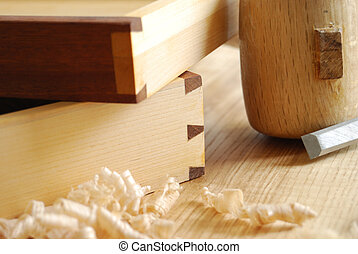 Details of a dovetailed joint on two little drawers